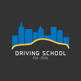 Napędowej szkoły wektorowy logo, znak, symbol, emblemat Zdjęcie Royalty Free