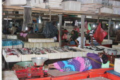 Nap in the fish market in Jimbaran, Bali. A lady takes a nap in the fish market in Jimbaran, Bali stock image