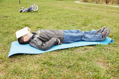 Nap on grass Royalty Free Stock Image