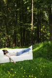 Nap in green forest stock photos
