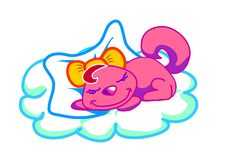 Nap time. Illustration of a cute little cat taking a nap on a cloud.White background Stock Photo
