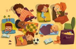 Free Nap Time In The Kindergarten. Group Of Multiracial Girls And Boys Have A Nip Time At A Colorfill Nap Mats. Preschool Royalty Free Stock Image - 126940226