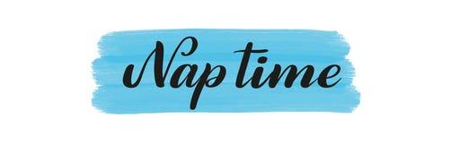 Nap Time Lettrage de stylo de brosse Vecteur illustration stock