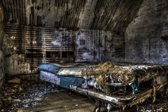 Nap Time. Old straw bed in an abandoned house. urban exploration Royalty Free Stock Photos
