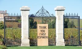 Thank you First Responders sign in Napa Valley on fence. Napa, CA - October 22, 2017: THANK YOU FIRST RESPONDERS sign for first responders who put their lives on stock photography
