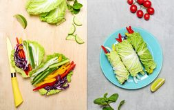 Napa cabbage vegan spring rolls. Napa cabbage spring rolls cooking concept, flat lay minimal composition stock photography