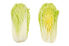 Napa cabbage, whole and half, Chinese cabbage, top view. Nappa. Wombok. Raw, fresh, uncooked, green vegetable. Brassica rapa Perkinensis Group. Macro food stock photos