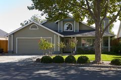Napa County, CA Custom Home. Exterior shot of a custom home built in the Napa Valley of California stock photo