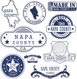 Napa county, CA. Set of stamps and signs Royalty Free Stock Photos