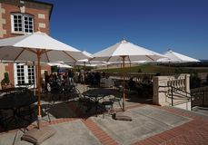 Wine enthusiasts taste wine at the Domaine Carneros Winery in Napa Valley. Royalty Free Stock Photos