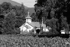 Napa Valley Country Church. Shot of a country church in Rutherford, CA in a vineyard in the Napa Valley stock images