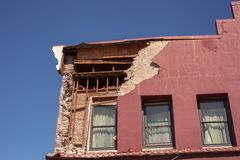 Napa Valley Earthquake damage 6.1. The side of this old building has collapsed to the street below after the 6.1 Napa earthquake causing this building to be red Royalty Free Stock Images