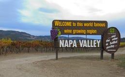 Napa Valley Kalifornien välkommet tecken Arkivfoto