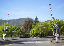 Napa Valley Railroad wine train level crossing in Yountville Stock Photo