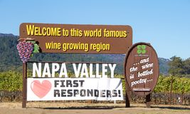 Napa Valley welcome sign with love first responders post fire. Napa Valley, CA - October 22, 2017: Welcome to Napa Valley Sign in Napa Valley with Love heart stock photo