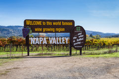 Napa Valley welcome sign Royalty Free Stock Photos