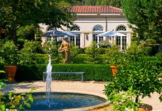 Napa Valley winery in California. Fountain and statue at winery Royalty Free Stock Images