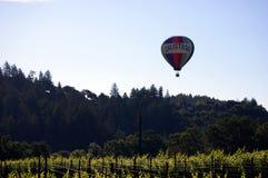 Napa ValleyHot luftballong med Calistoga som är skriftlig på ballongen över vingård royaltyfri bild