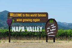 Napa- Valleyzeichen. Kalifornien Lizenzfreies Stockbild