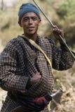 Nepal, Langtang, local Tamang Man. Nepali Tamang Man with a Kurkuri knife, Langtang region, Nepal Stock Images