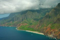 Napali Coast Aerial, Kauai Stock Photo