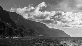 Napali Coast in Black and White. Dramatic black and white panorama of the Napali Coast in Kauai, Hawaii Islands Royalty Free Stock Photo