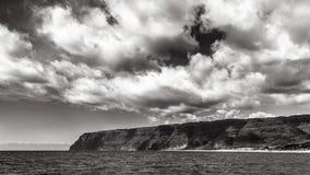 Napali Coast in Black and White. Dramatic black and white panorama of the Napali Coast in Kauai, Hawaii Islands Stock Photos