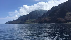 NaPali Coast Cliffs, Kalalau Beach, and Kalalau Valley on Kauai Island, Hawaii - View from Boat. NaPali Coast Cliffs, Kalalau Beach, and Kalalau Valley on Kauai stock video