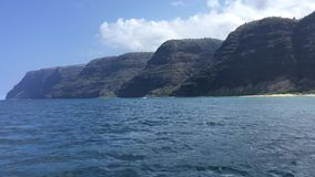 NaPali Coast Cliffs and Polihale Beach on Kauai Island, Hawaii - View from Boat. stock video footage