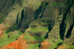 Napali Coast, Kauai. Detail aerial view of the verdant and jagged Napali Cliffs, captured on the island of Kauai in Hawaii Stock Photography