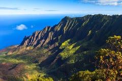 Napali Coast Mountains. Morning scene at the Napali Coast in Kauai, Hawaii Islands Stock Photos