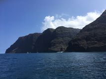 Napali Coast Mountains and Cliffs Seen from Pacific Ocean - Kauai Island, Hawaii. Royalty Free Stock Images