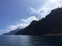 Napali Coast Mountains and Cliffs Seen from Pacific Ocean - Kauai Island, Hawaii. Stock Image