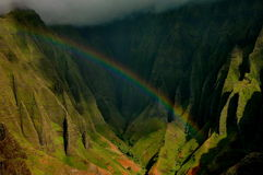 Napali Coast Rainbow, Kauai Stock Photo