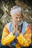 Napali. KATHMANDU, NEPAL - MAY 2017 : Portrait of Priests in hindi at Bhaktapur Durbar Square , Heritage site in Kathmandu, Nepal in June 15, 2017 stock photos