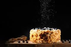 Napalion kaka, i lager kaka, puffkaka med blåbäret som strilas med pudrat socker, svart bakgrund Idé för en kulinarisk katalog Arkivfoton