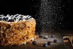 Napalion kaka, puffkaka med blåbäret som strilas med pudrat socker, på en grov trätäckning, menybakgrund Arkivfoto