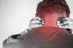 Nape injury in humans .nape pain,joint pains people medical, mono tone highlight at nape Stock Photos