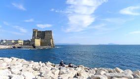 Napels, dell'Ovo Castel Stock Foto's