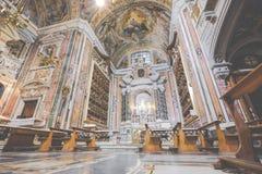 NAPELS, ITALIË, 02,2017 DECEMBER: Mooi plafond boven Gesu N Royalty-vrije Stock Afbeeldingen