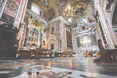 NAPELS, ITALIË, 02,2017 DECEMBER: Mooi plafond boven Gesu N Royalty-vrije Stock Afbeelding