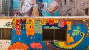 Napels, murales het Gerechtelijke psychiatrische ziekenhuis Stock Foto's