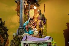 Napels, San Gregorio Armeno, de vertegenwoordiging van de heilige familie royalty-vrije stock foto's