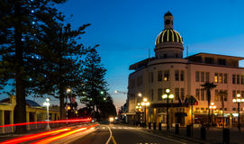 Napier at Dusk. The Dome clock of Napier New Zealand in twilight sky Stock Image