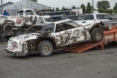 Wrecked car after demolition derby. Napierville demolition derby, July 2, 2017 Stock Images