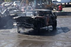 Wrecked car in action during demolition derby Royalty Free Stock Photography
