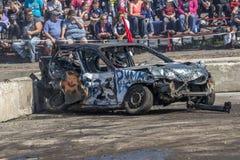 Wrecked car after demolition derby. Napierville demolition derby, July 2, 2017 Stock Photo