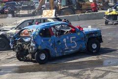Wrecked car during demolition derby. Napierville demolition derby, July 2, 2017 Stock Images