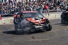 Wrecked car during demolition derby Stock Images