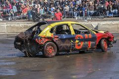 Wrecked car during demolition derby Stock Photo